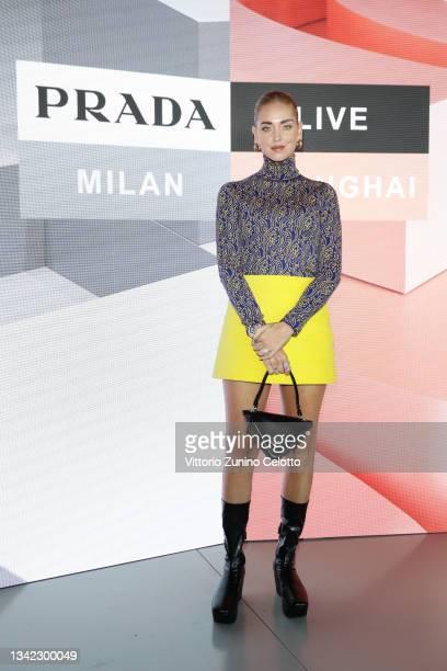 Chiara Ferragni attends the Prada Show during Milan Fashion Spring/Summer 2022 on September 24, 2021 in Milan, Italy.