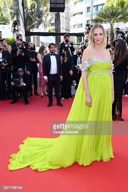 """Chiara Ferragni attends the """"Stillwater"""" screening during the 74th annual Cannes Film Festival on July 08, 2021 in Cannes, France."""