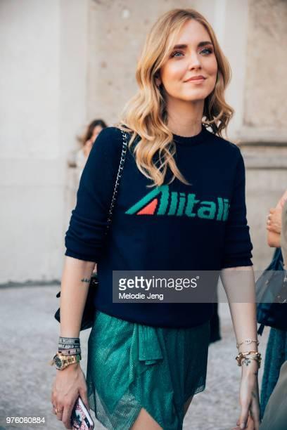 Chiara Ferragni in an Alberta Feretti x Alitalia top outside the Alberta Ferretti Resort 2019 show during Milan Men's Fashion Week Spring/Summer 2019...