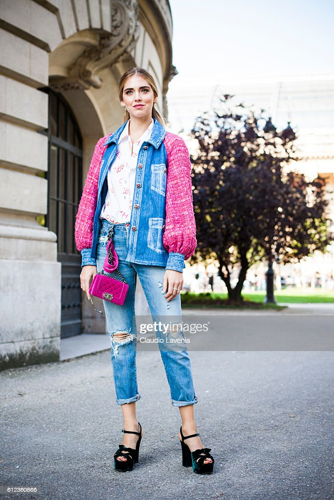 Chiara Ferragni in Chanel total look poses after the Chanel show on day 8 of Paris Womens Fashion Week Spring/Summer 2017 on October 1, 2016 in Paris, France.