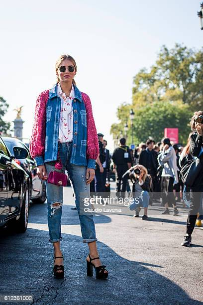Chiara Ferragni in Chanel total look poses after the Chanel show on day 8 of Paris Womens Fashion Week Spring/Summer 2017 on October 1 2016 in Paris...