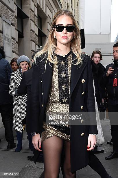 Chiara Ferragni is seen arriving at Elie Saab Fashion Show during Paris Fashion Week- Haute Couture Spring Summer 2017 on January 25, 2017 in Paris,...