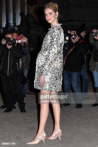 Chiara Ferragni is seen arriving at Giambattista Valli show during Paris Fashion Week Haute Couture Spring/Summer 2018 on January 22 2018 in Paris...