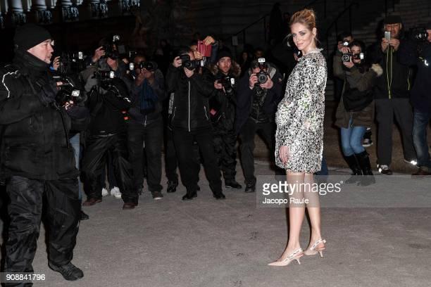 Chiara Ferragni is seen arriving at Giambattista Valli show during Paris Fashion Week Haute Couture Spring/Summer 2018 on January 22 2018 in Paris...