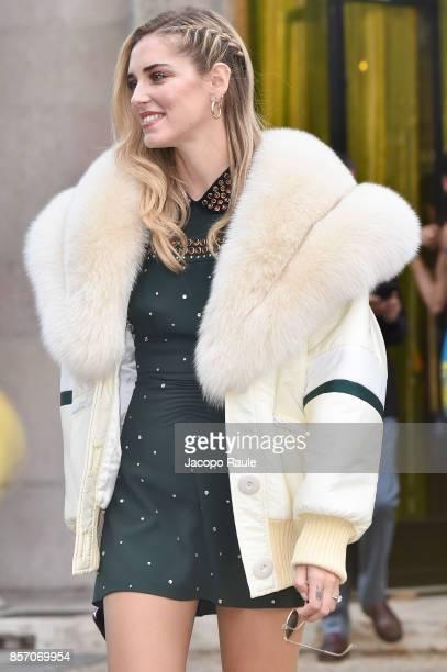 Chiara Ferragni is seen arriving at Miu Miu show during Paris Fashion Week Womenswear Spring/Summer 2018 on October 3 2017 in Paris France