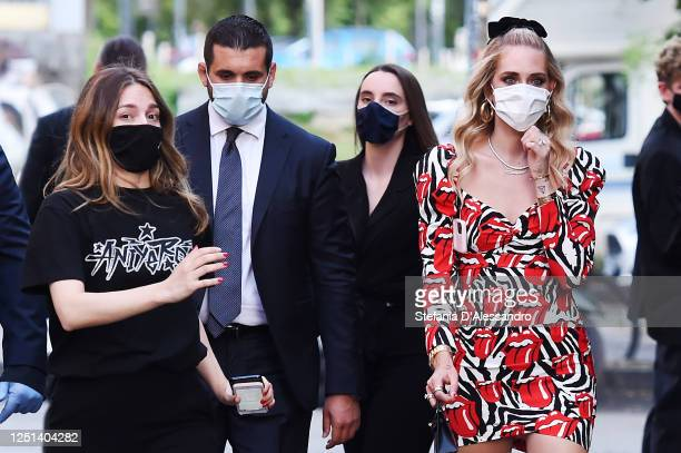 Chiara Ferragni is seen arriving at the Aniye By fashion show at Magazzini Generali on June 22, 2020 in Milan, Italy.