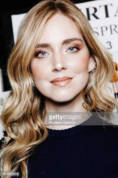 Chiara Ferragni is seen backstage ahead of the Alberta Ferretti show during Milan Men's Fashion Week Spring/Summer 2019 on June 15 2018 in Milan Italy