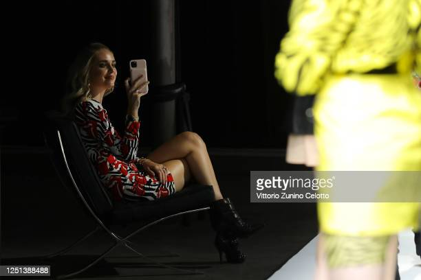 Chiara Ferragni is seen filming the runway at the Aniye By fashion show at Magazzini Generali on June 22, 2020 in Milan, Italy.