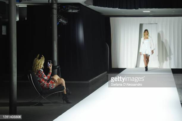 Chiara Ferragni is seen filming the runway at the Aniye By fashion show at Magazzini Generali on June 22 2020 in Milan Italy