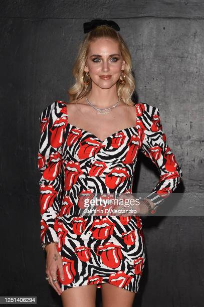 Chiara Ferragni is seen in the front row at the Aniye By fashion show at Magazzini Generali on June 22, 2020 in Milan, Italy.