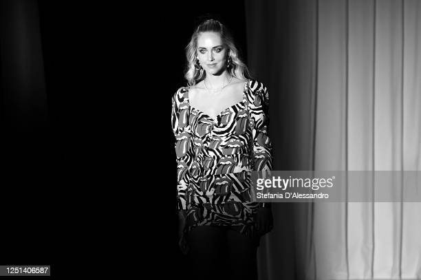 Chiara Ferragni is seen in the front row at the Aniye By fashion show at Magazzini Generali on June 22 2020 in Milan Italy