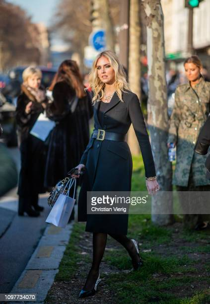 Chiara Ferragni is seen outside Dior during Paris Fashion Week Haute Couture Spring Summer 2019 on January 21 2019 in Paris France