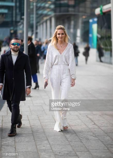 Chiara Ferragni is seen weairng white striped overall outside Alberta Ferretti on Day 1 Milan Fashion Week Autumn/Winter 2019/20 on February 20 2019...