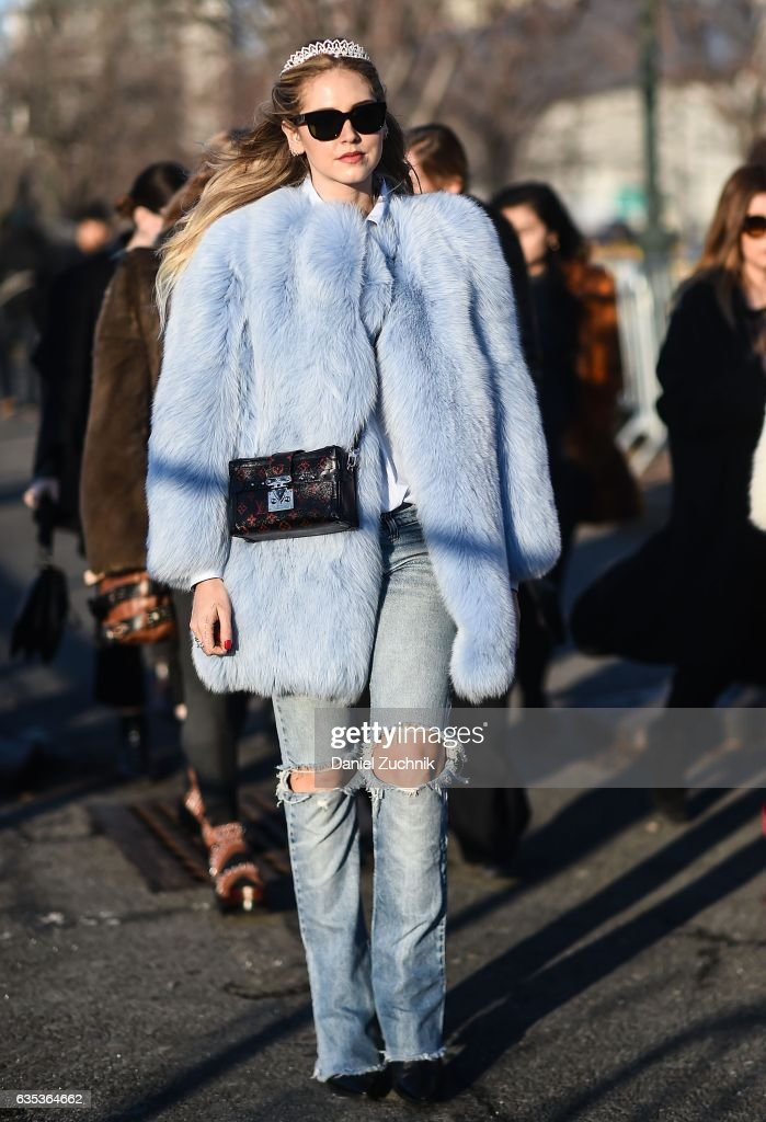 Chiara Ferragni is seen wearing a baby blue fur coat, Louis Vuitton purse with a tiara outside the Coach show during New York Fashion Week: Women's Fall/Winter 2017 on February 14, 2017 in New York City.
