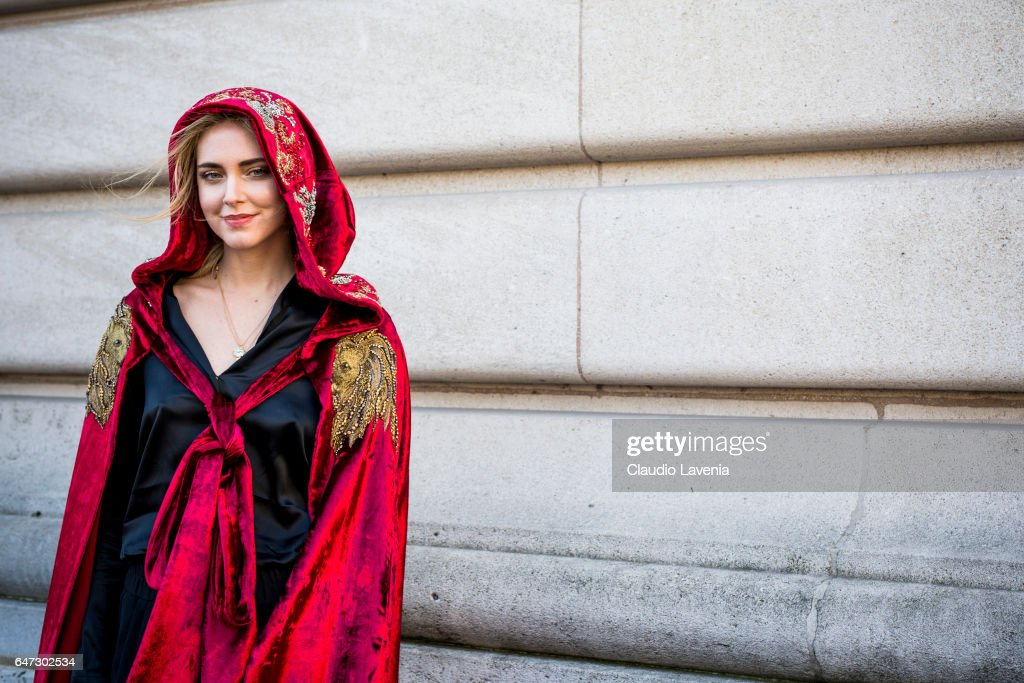 Chiara Ferragni is seen wearing a coat from Alberta Feretti in the streets of Paris before the Chloe show during Paris Fashion Week Womenswear Fall/Winter 2017/2018 on March 2, 2017 in Paris, France.