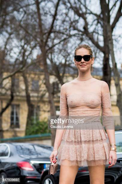 Chiara Ferragni is seen wearing a dress from Dior in the streets of Paris before the Christian Dior show during Paris Fashion Week Womenswear...