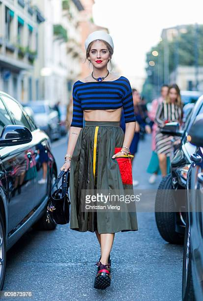 Chiara Ferragni is wearing a Prada top skirt and shoes outside Prada during Milan Fashion Week Spring/Summer 2017 on September 22 2016 in Milan Italy