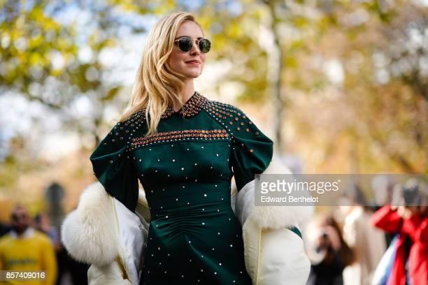 Chiara Ferragni outside Miu Miu during Paris Fashion Week Womenswear Spring/Summer 2018 on October 3 2017 in Paris France