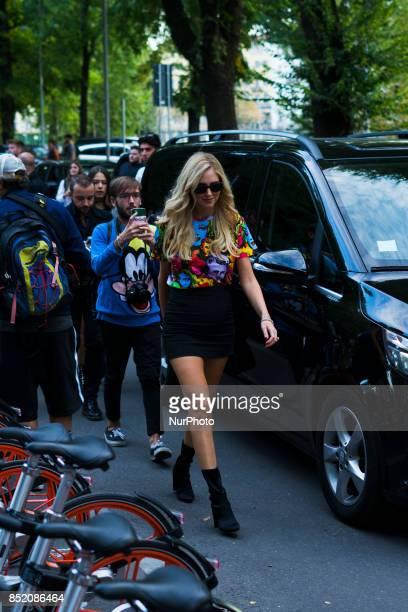 Chiara Ferragni seen before the Versace Fashion Show during Milan Fashion Week Spring/Summer 2018 on September 22 2017 in Milan Italy