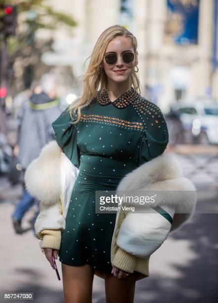Chiara Ferragni seen outside Miu Miu during Paris Fashion Week Spring/Summer 2018 on October 3 2017 in Paris France