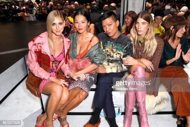 Chiara Ferragni Tina Leung Bryanboy and Veronika Heilbrunner attend the Prada show during Milan Fashion Week Spring/Summer 2018 on September 21 2017...
