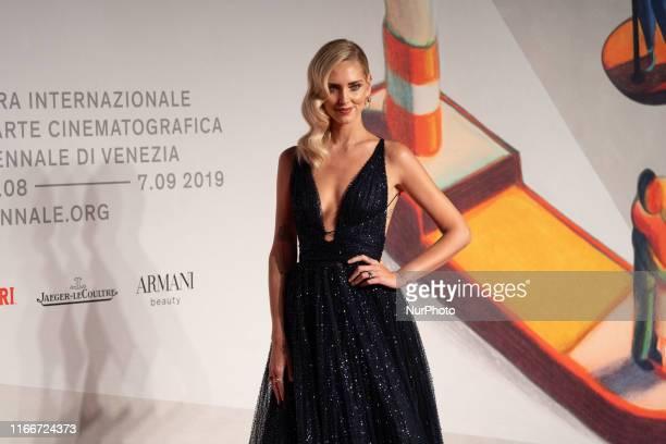 Chiara Ferragni walks the red carpet ahead of the ''Chiara Ferragni Unposted'' screening during the 76th Venice Film Festival at Sala Giardino on...