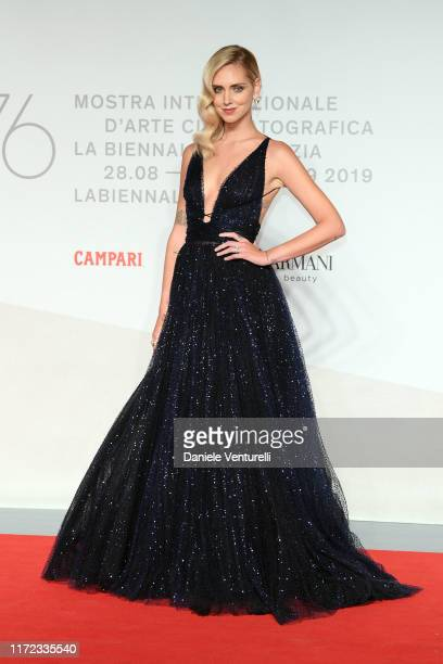 Chiara Ferragni walks the red carpet ahead of the Chiara Ferragni Unposted screening during the 76th Venice Film Festival at Sala Giardino on...