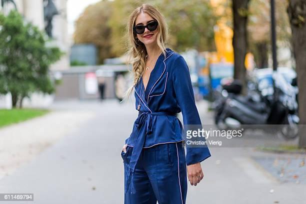 Chiara Ferragni wearing a navy pyjama outside Chloe on September 29 2016 in Paris France