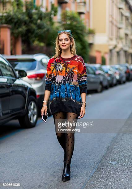 Chiara Ferragni wearing a sweater and tights is seen outside No21 during Milan Fashion Week Spring/Summer 2017 on September 21 2016 in Milan Italy