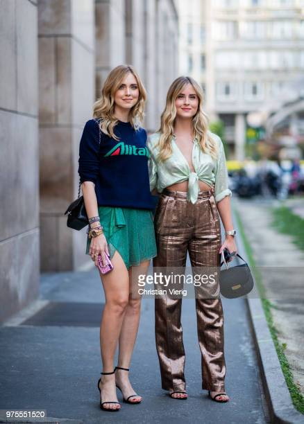 Chiara Ferragni wearing Altitalia knit green skirt and Valentina Ferragni wearing cropped top pants outside Alberta Ferretti during Milan Men's...