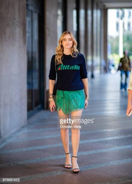 Chiara Ferragni wearing Altitalia knit green skirt outside Alberta Ferretti during Milan Men's Fashion Week Spring/Summer 2019 on June 15 2018 in...