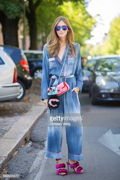 Chiara Ferragni wearing Fendi jumpsuit and bags Marco di Vincenzo shoes and Victoria Beckham sunglasses during Milan Fashion Week Spring/Summer 16 on...