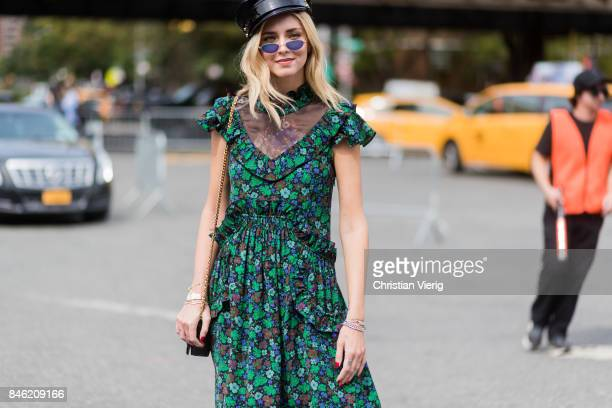 Chiara Ferragni wearing flat cap green dress seen in the streets of Manhattan outside Coach during New York Fashion Week on September 12 2017 in New...