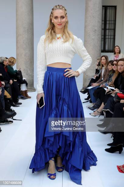 Chiara Ferragni, wearing Max Mara, attends the Max Mara show during Milan Fashion Week Fall/Winter 2020/2021 on February 20, 2020 in Milan, Italy.