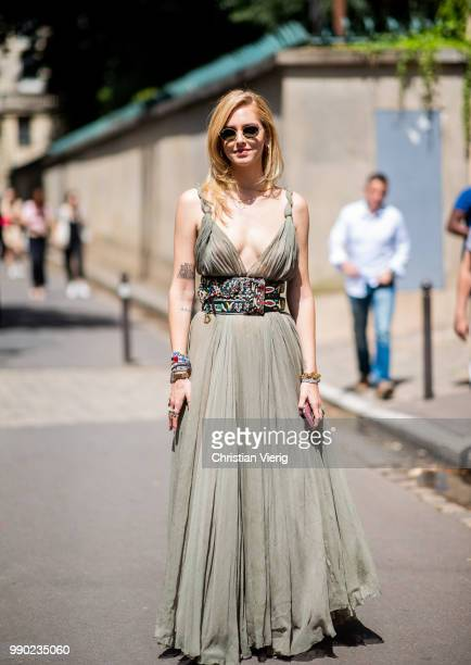 Chiara Ferragni wearing olive dress is seen outside Dior on day two during Paris Fashion Week Haute Couture FW18 on July 2 2018 in Paris France