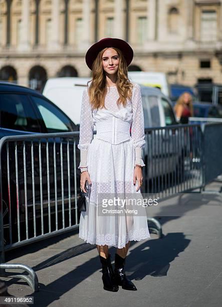 Chiara Ferragni wearing Philosophy dress during the Paris Fashion Week Womenswear Spring/Summer 2016 on October 3 2015 in Paris France