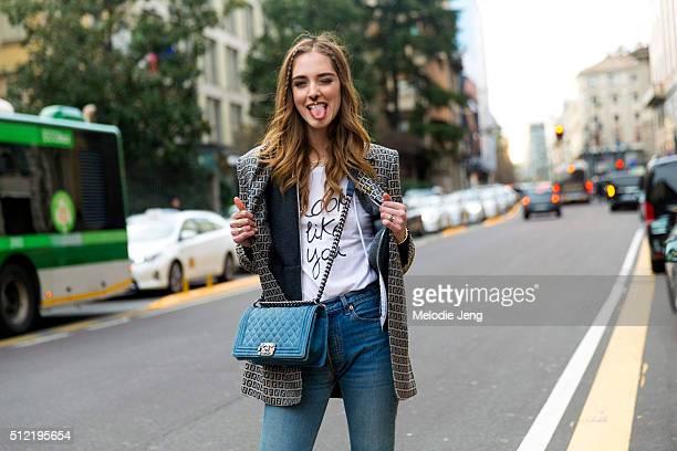 Chiara Ferragni wears a Fendi logo print blazer, a #looklikeyou t-shirt, and Chanel purse at the Alberta Ferretti show on February 24, 2016 in Milan,...