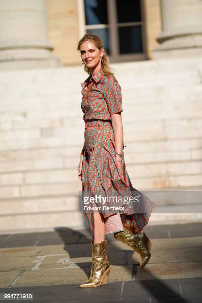 Chiara Ferragni wears a flower print colored dress golden boots outside Fendi during Paris Fashion Week Haute Couture Fall Winter 2018/2019 on July 4...