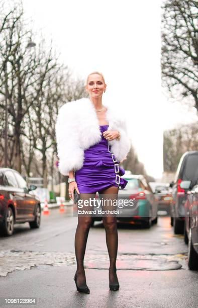 Chiara Ferragni wears a purple dress with white faux fur, outside Alexandre Vauthier, during Paris Fashion Week - Haute Couture Spring Summer 2020,...