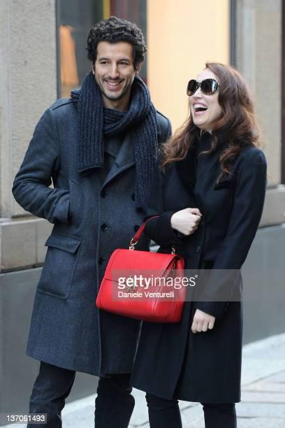 Chiara Francini and Francesco Scianna are seen during Milan Fashion Week Menswear Autumn/Winter 2012 on January 15 2012 in Milan Italy
