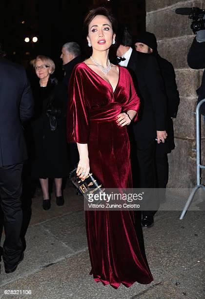 Chiara Francini arrives at the Teatro alla Scala Season 2016/17 opening at Teatro Alla Scala on December 7 2016 in Milan Italy