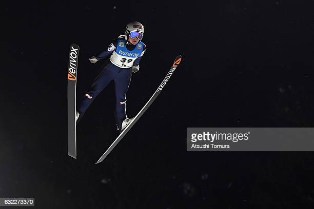 Chiara Hoelzl of Austria competes in Ladies' HS106 during the FIS Ski Jumping World Cup Ladies 2017 In Zao at Zao Jump Stadium on January 21 2017 in...