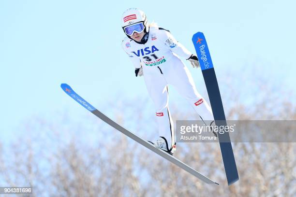 Chiara Hoelzl of Austria competes in the Ladies normal hill individual during day one of the FIS Ski Jumping Women's World cup at Miyanomori Ski Jump...