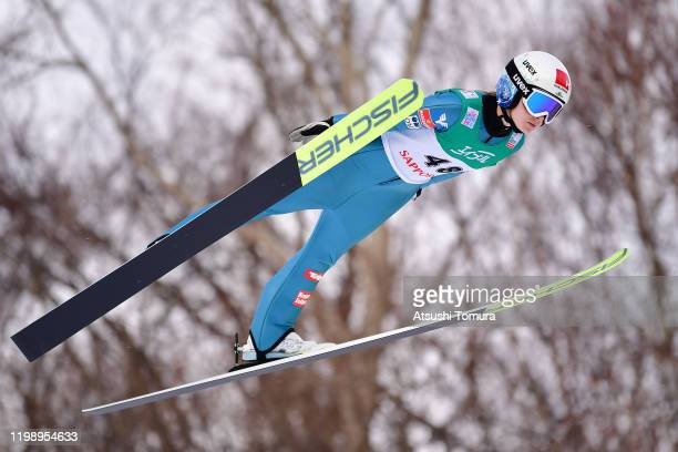 Chiara Hoelzl of Austria competes on day two of the FIS Ski Jumping Women's World Cup Sapporo at Okurayama Jump Stadium on January 12, 2020 in...
