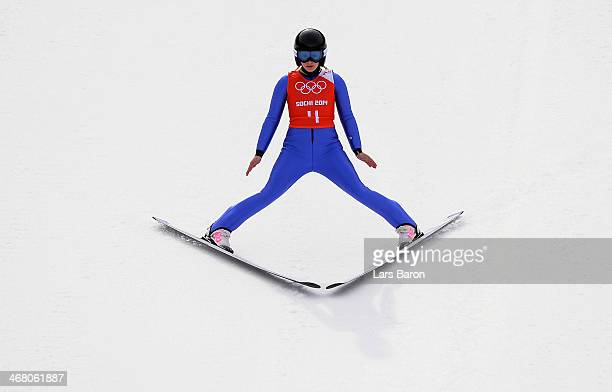 Chiara Hoelzl of Austria lands her jump during the Ladies' Normal Hill Individual Ski Jumping training on day 2 of the Sochi 2014 Winter Olympics at...