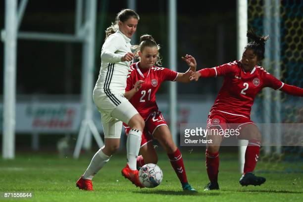 Chiara Marie Hahn of Germany and Emilie Pruesse of Denmark compete for the ball during the U16 Girls international friendly match betwwen Denmark and...