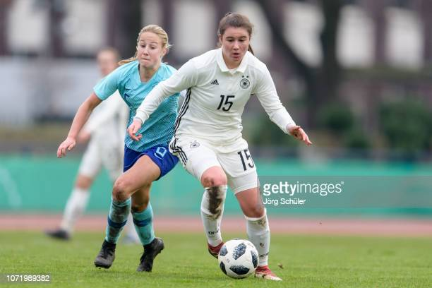 Chiara Marie Hahn of Germany battles for the ball with Dana Foederer of Netherlands during the U17 Girl's international friendly match between...