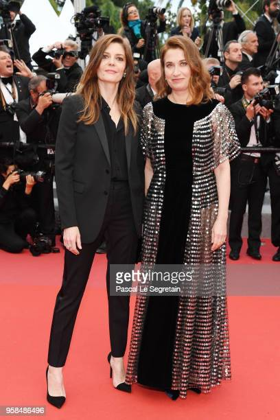 Chiara Mastroianni and Emmanuelle Devos attend the screening of BlacKkKlansman during the 71st annual Cannes Film Festival at Palais des Festivals on...