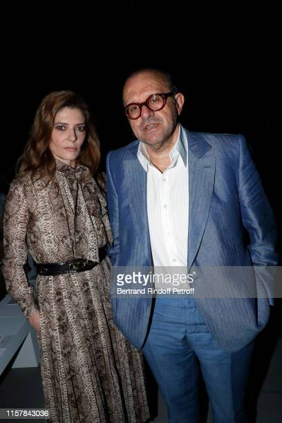 Chiara Mastroianni and Hervé Temime attends the Celine Spring Summer 2020 show as part of Paris Fashion Week on June 23 2019 in Paris France