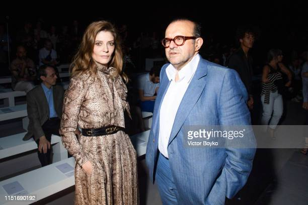 Chiara Mastroianni and Herve Temime attend the Celine Spring Summer 2020 show as part of Paris Fashion Week on June 23 2019 in Paris France